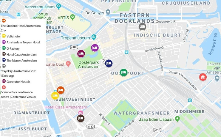 A map of Amsterdam with suggested hotels