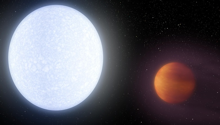 Artist's impression of exoplanet KELT-9b (right) and its host star KELT-9