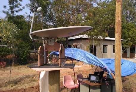 A homebuilt radio telescope with an old tv dish antenna