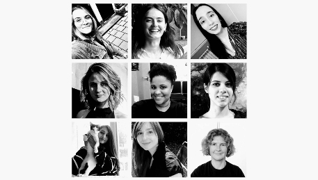 A grid showing 9 portraits of women